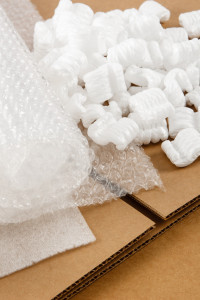 cardboard boxes and shipping supplies